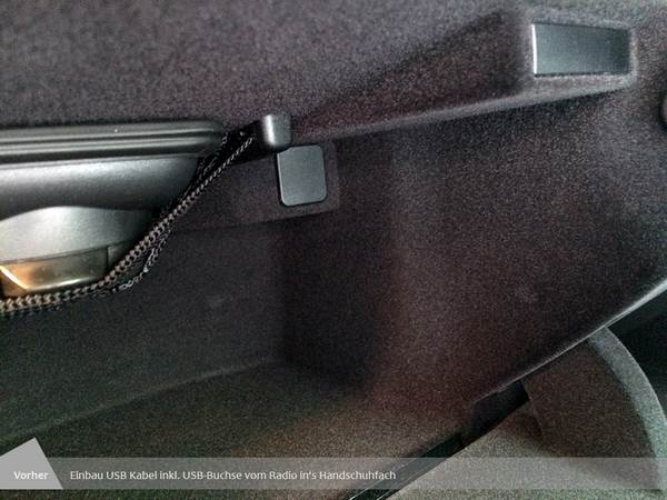 Einbau USB Kabel inkl. USB-Buchse vom Radio in das Handschuhfach